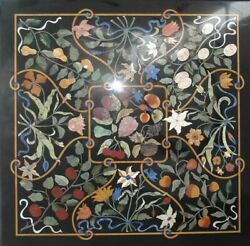 Black Square Marble Dining Table Top Marquetry Floral Inlay Art Home Decors B300