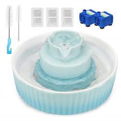 Wonder Creature Cupcake Cat Water Fountain Porcelain, Pet Fountain For Dog And