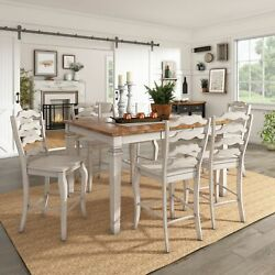 Elena Antique White Extendable Counter Height Dining Set -