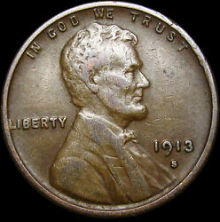 1913-s Lincoln Cent Wheat Penny ---- Nice Coin ---- S614