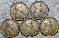 1912-s 1915-s 1918 1926-s 1927-d Lincoln Cent Wheat Penny Coin Lot ---- S637