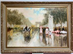 Framed And Signed Andre Gisson Impressionist Painting Of Arc De Triomphe
