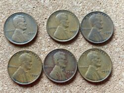 1936,1935,1934,1937,1938,1939 Lincoln Wheat Cent Lot Of 6 No Mint Markings