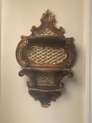 19th C Parcel Gilt Carved Wood Rococo Wall Shelf 3 Tiers