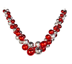 5' Red And Silver Ball Garland Fun Bling Sparkle Railing Mantle Raz G4032715 New