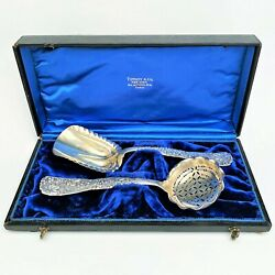 Grape And039vineand039 Pattern 2pc Serving Set Sterling Silver Ca. 1880and039s W/ Box
