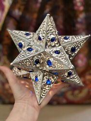 Mexican Punched Tin Star W/ Blue Marbles, Star Lamp, Christmas Tree Topper