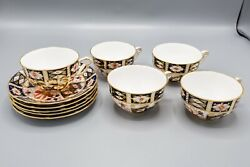 Royal Crown Derby Traditional Imari Mostly Cup And Saucers Set Of 5 Read