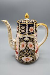 Royal Crown Derby Traditional Imari Coffee Pot And Lid- Free Usa Shipping