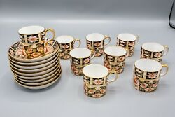 Royal Crown Derby Traditional Imari Mostly Cup And Saucers Set Of 9 Read