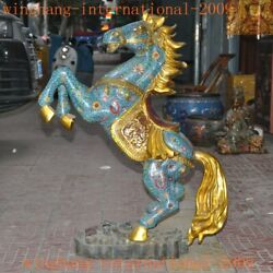 38chinese Royal Bronze Cloisonne Gilt Wealth Success Animal Horse Steed Statue