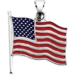 Flag United States Pendant For The Patriot 14k White Or Yellow Gold Two Sizes
