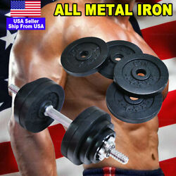 All Iron 50lb 52.5lb Adjustable Weight Dumbbell Gym Full Metal Black Plated