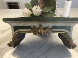 18th Century Italian Carved Gilt And Painted Wood Wall Bracket Shelf