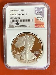 1986 S Proof Silver Eagle Ngc Pf69 Ultra Cameo John Mercanti Hand Signed Label