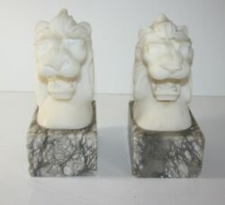 Pair Volterra Alabaster Lion Head Bookends Made In Italy