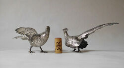 Sterling Silver 835 Belgian / Dutch / French Pheasant Birds Pair Vintage Lovely