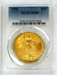 1928 Gold United States 20 Saint Gaudens Double Eagle Coin Pcgs Mint State 65