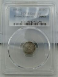 1852-o Us Seated Liberty Half Dime H10c Genuine Mount Removed Pcgs Xf Detail