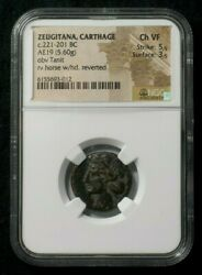 Ae19 From The City Of Carthage In Zeugitana Horse Reverse Ngc Ch Vf 3012