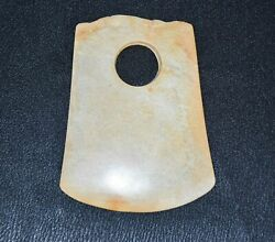 High Chinese Liang Zhu Culture Old Jade Carved Axe Yue Figure