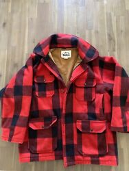 Vintage Mackinaw Wool Woolrich Red And Black Buffalo Plaid Hunting Coat Size 44