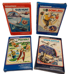 Lot Of 4 Vintage Intellivision Video Games Sub Hunt, Bowling, Golf, Space Battle