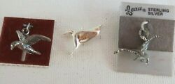 Lot 3 Vintage Beau Sterling Silver Eagle Charms