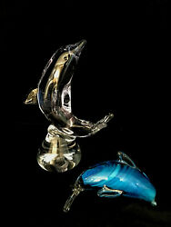 2 Dolphins Murano Style Blue And Clear Glass Figurines Paperweights 7 And 3 X 4