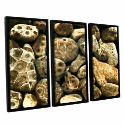 Artwall Kevin Calkins ' Petoskey Stone Collage 3 Piece Extra Large