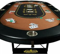 10-players Felt Top Poker Table Folding Portable Party Casino Game Texas Hold Em