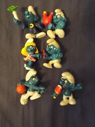 Vintage Smurfs Figures Lot Of 6 - 1970s And 1980s