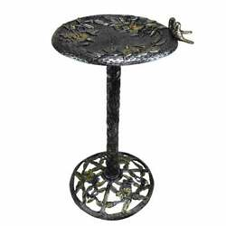 High Quality Metal Bird Bath With Singing Birds, No Assembly Silver