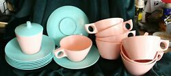 Texas Ware Lot 8 Pink Cups 8 Turquoise Saucers Plus Mixed Color Sugar Bowl Look