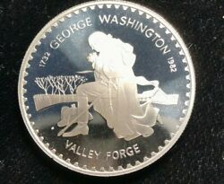 Lesotho 1982 Proof Silver 10 Maloti George Washington Valley Forge