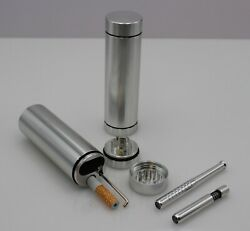Dugout Combo Outdoor Kit -silver- W/grinder And 3 Tobacco One Hitter Pipes