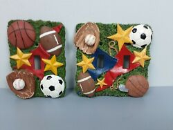 3 D Sports Themed Ceramic Light Switch Covers Lot Of 2 1 Single And 1 Double