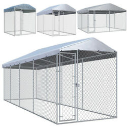Pet Dog Cage Heavy Duty Strong Kennel Steel Playpen Training With Canopy Roof