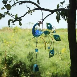 Peacock Wind Chimes Colorful Creative Metal Ornaments Home Garden Decorations