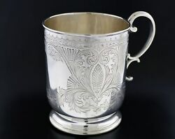 Antique 1893 John Round Sheffield England 925 Sterling Silver Hand Chased Cup 4