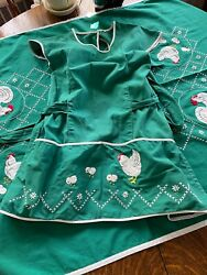 Vintage Homemade Full Bib Apron Rich Green / Appliqued Chicken And Her Chics Gift