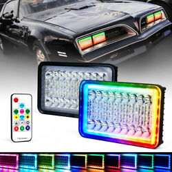 36w 4x6 Rectangle Led Headlight Replacement Lamp Hi/lo Beam With Rgb Halo Drl