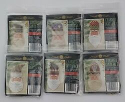 Mill Hill Charmed Santa Face Counted Glass Bead Kits Ornament Lot Of 6