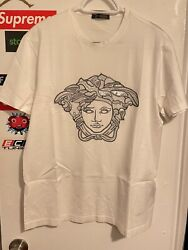 Versace White Silver Sequin And Studs Medusa T Shirt Size Large 100 Authentic