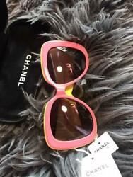 Auth Vintage Gold Cc Logo Pink/yellow Sunglasses Women New From Japan F/s