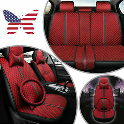 Luxury Car Seats Covers Pu Leather Full Wrap 5-sits Front+rear Cushion Burgundy