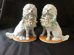 Antique German Porcelain Pair Of Poodle Dogs With Pigs In Basket . Numbers Back