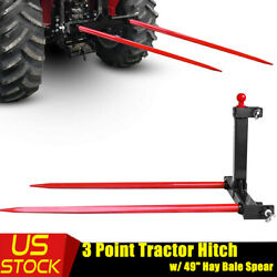 Category 1 Tractor Trailer Hitch 3 Point Attachment W/49'' Red Hay Bale Spear Us