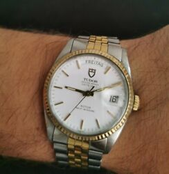 Tudor Day Date German White Dial 36mm Gold And Ss Automatic Men's Watch