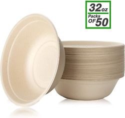 Disposable Paper Bowls 32 Oz [50 Pack] Large Bowl-100 Compostable Green And